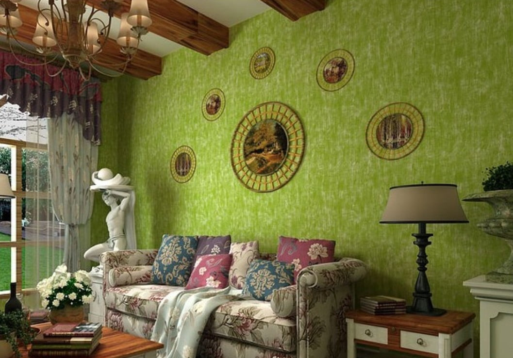 3D-American-living-room-with-pastoral-style-wallpaper