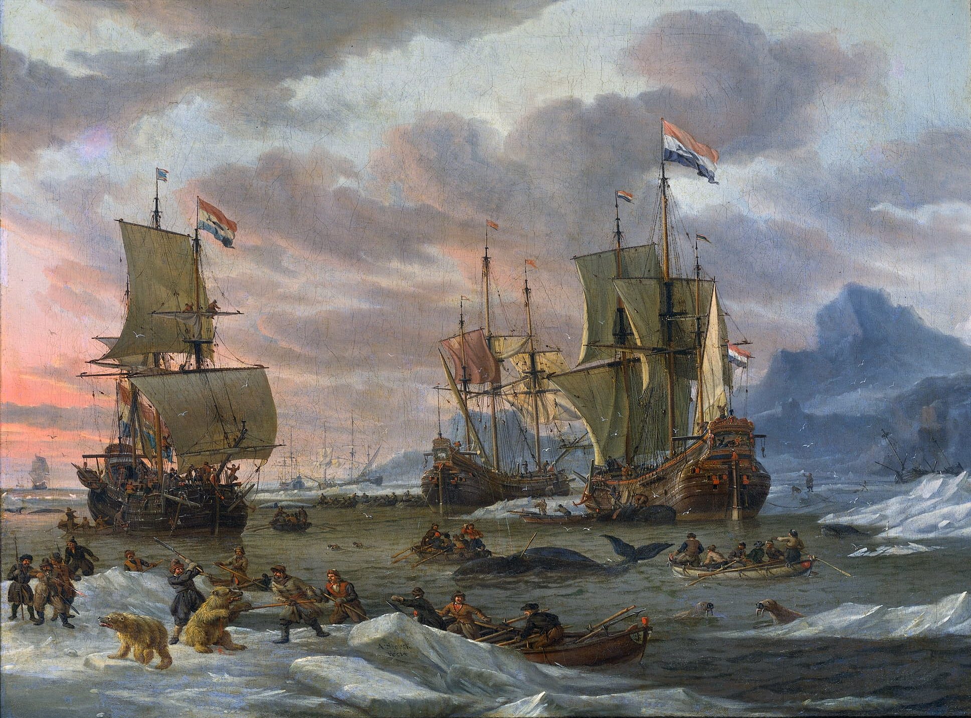 Abraham-Storck-Dutch-Whalers-Off-a-Rocky-Coast