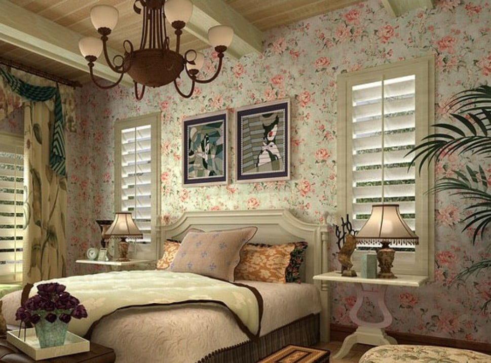 American-country-style-bedroom-wallpaper-decoration-rendering