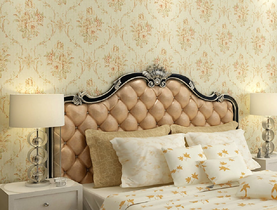 American-country-style-wallpaper-for-bed-back-wall
