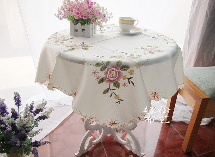 Free-Shipping-Pastoral-Hollow-Out-Tea-Table-Cloth-85-85cm-Embroidered-Pink-Rose-font-b-Square