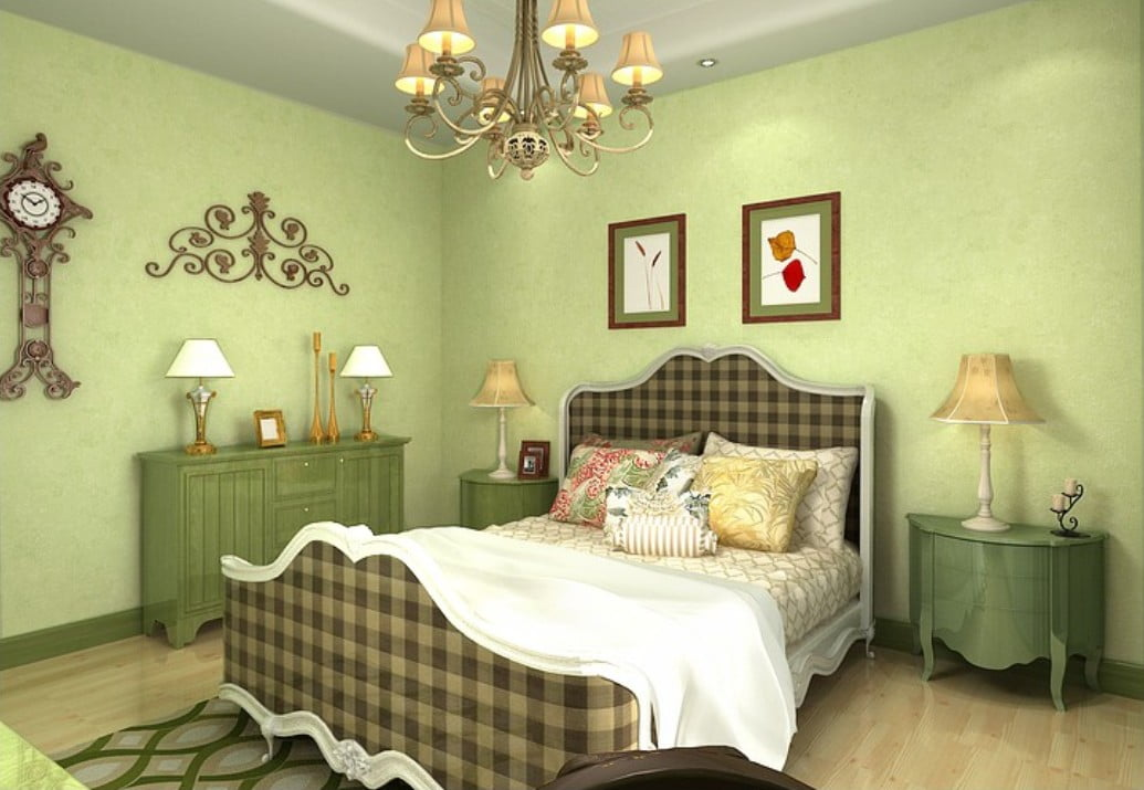Pale-green-non-woven-wallpaper-for-simple-bedroom