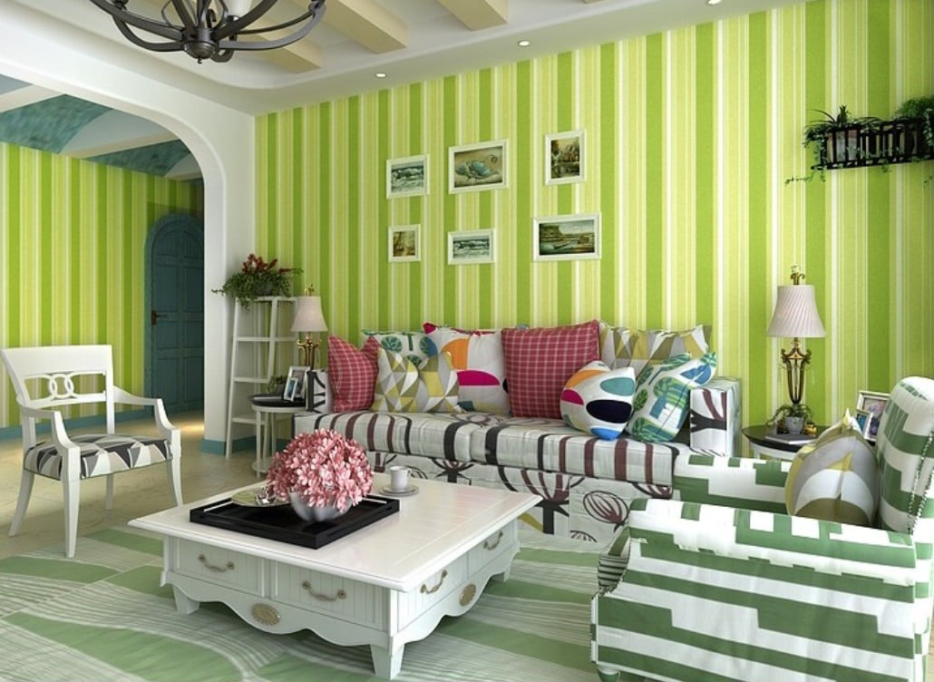 Render-3D-Thailand-living-spaces-decorated-by-green-non-woven-wallpaper