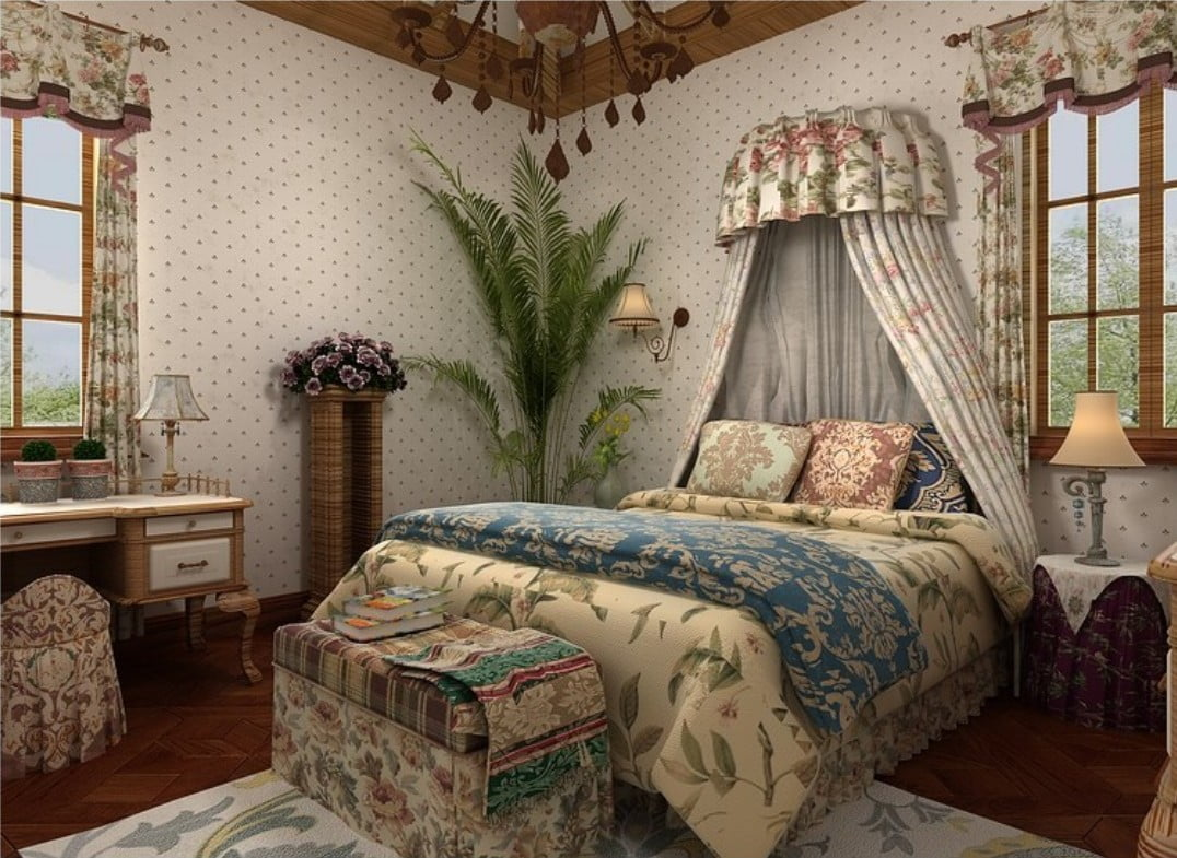 Rendering-American-country-bedroom-wallpaper-and-curtains