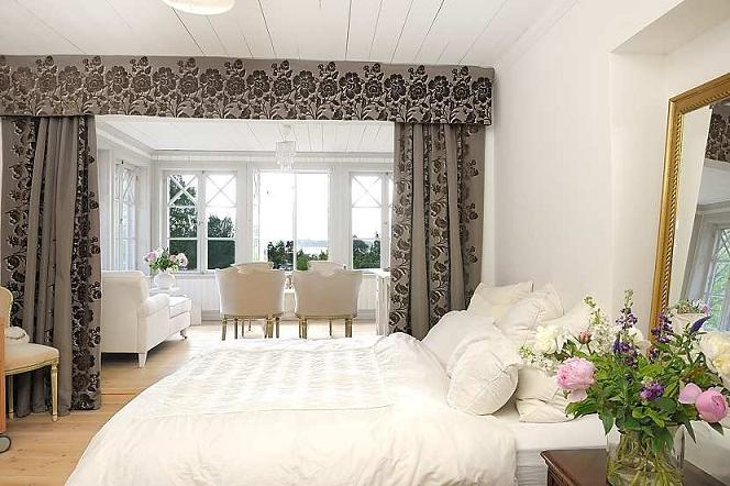 Scandinavian country home interior design,white Swedish villa master bedroom