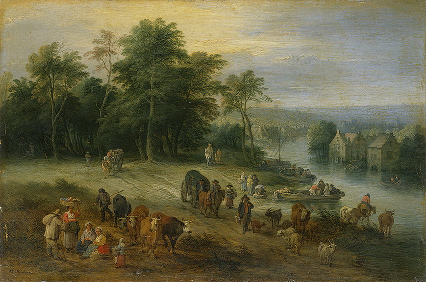 oil-painting-18th-century-landscape-painting-village-scenes-Theobald-Michau (2)