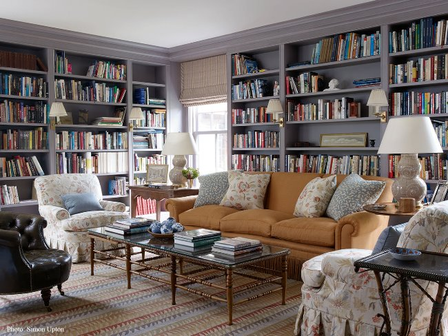 Beautiful-Library-Painted-in-a-Blue-Gray-Perfect-for-an-English-Country-Home