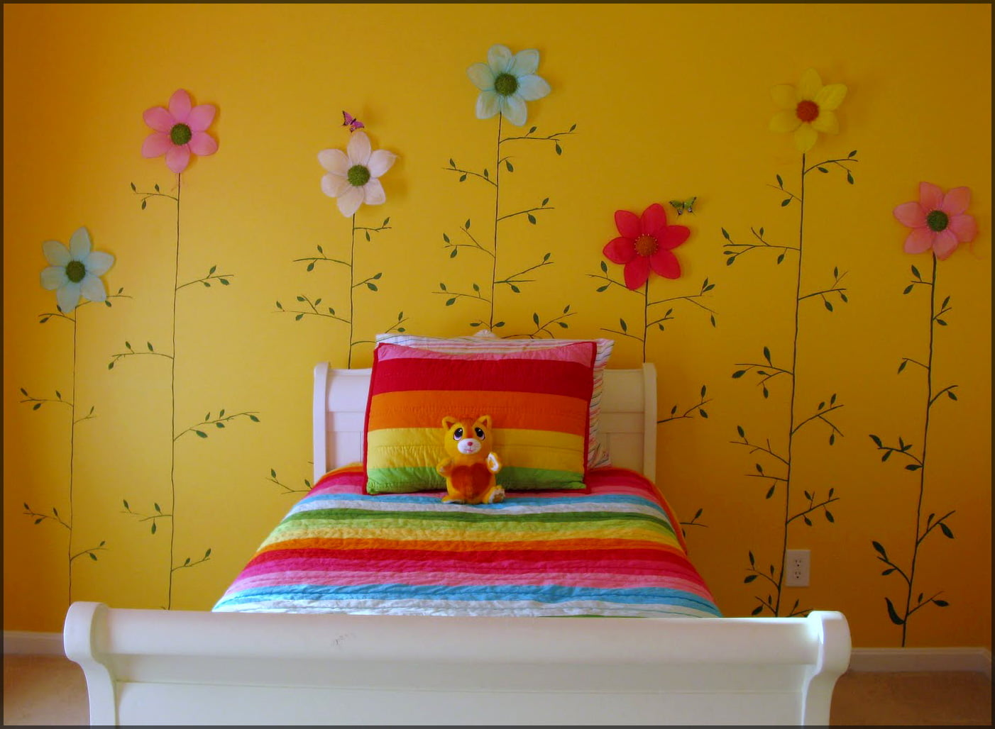 interior-beautiful-orange-wallpaper-scheme-color-with-decorative-emroidered-flower-decor-and-rainbow-theme-bed-sheet-best-choices-color-schemes-for-girls-bedrooms