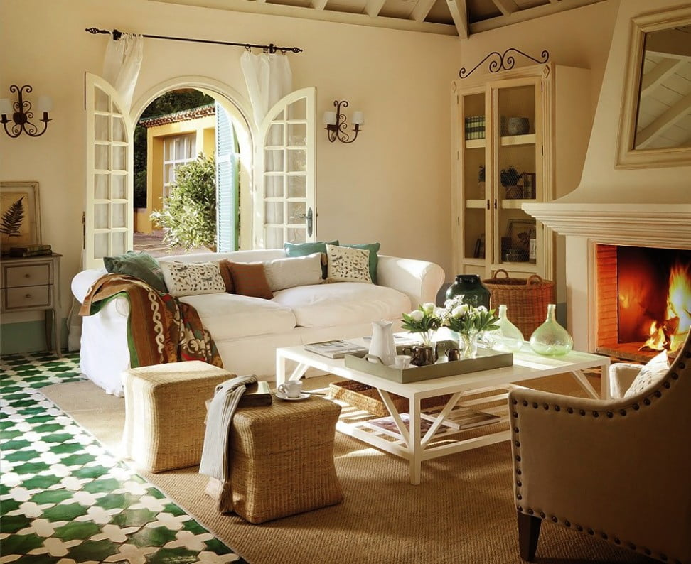 interior-comfortable-country-home-decorating-idea-for-living-room-with-white-sofas-with-green-white-brown-cushions-white-table-fireplace-and-brown-rug-classy-country-home-decorating-ideas-