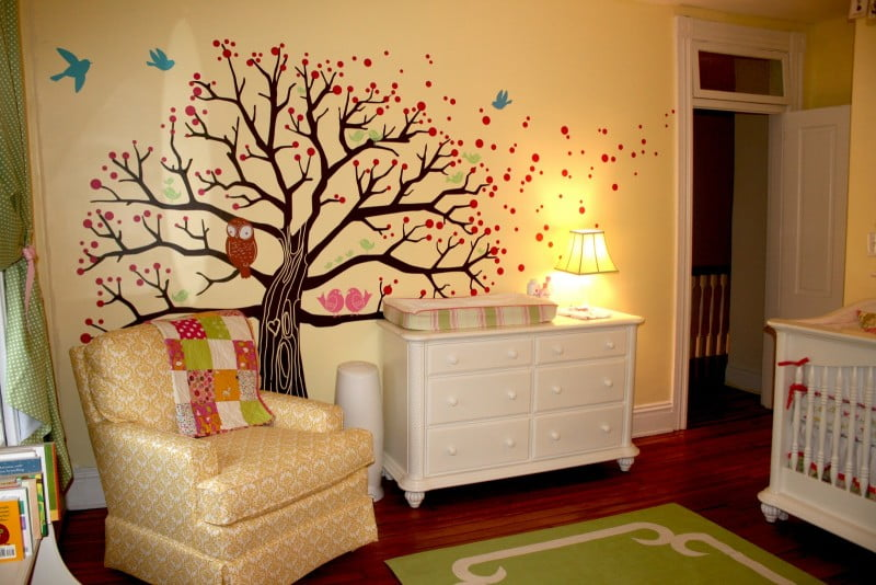 baby-nursery-attractive-boy-baby-nursery-room-design-ideas-with-blossom-tree-wall-sticker-including-white-wood-baby-box-and-orange-patterned-armchair-in-bedroom-delightful-boy-baby-nurse
