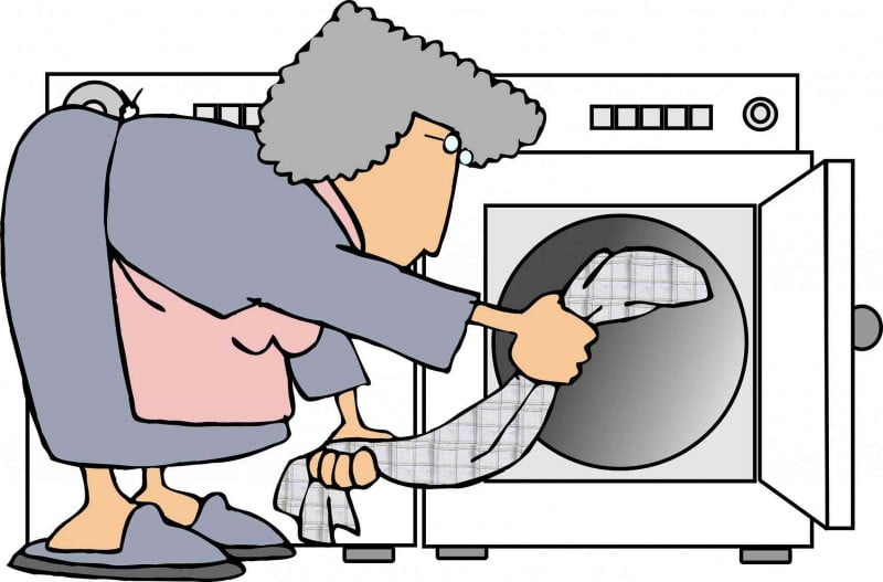 this illustration depicts a woman putting clothes in a dryer.