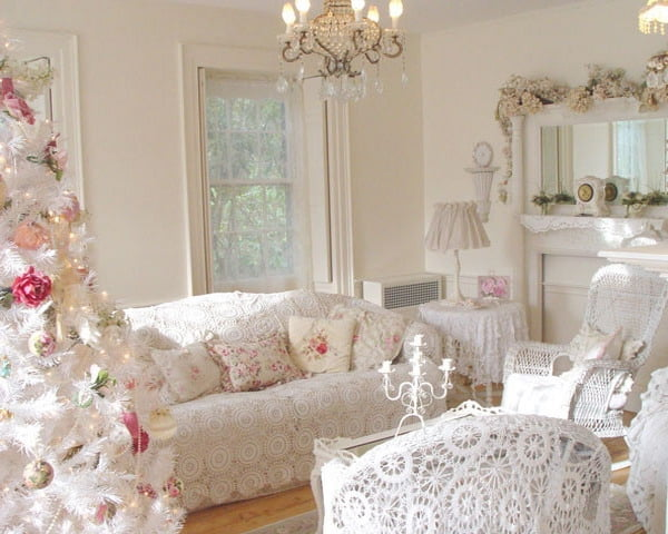 shabby-chic-living-room-decor-ideas-white-colors-crochet-sofa-cover-floral-pattern-decorative-pillows