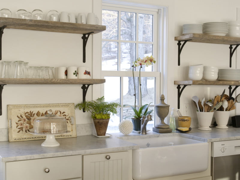 reclaimed wood shelving in kitchen modern rustic
