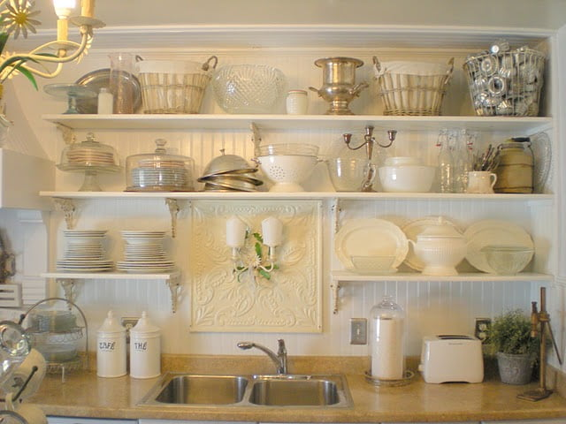 shabby french cottage shelves-beadboard wall