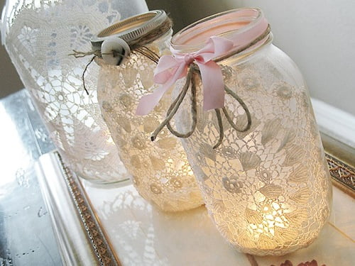 Lace-Covered-Candle-Filled-Jars-via-Curbly