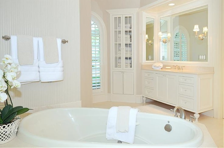 French country shabby chic romantic cream and white bathroom