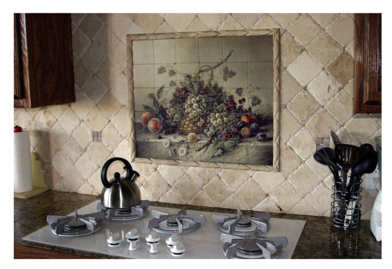 kitchens-enticing-diagonal-natural-stone-and-fruit-bouquet-mural-tiles-kitchen-backsplash-design-in-traditional-kitchen-with-dark-wood-kitchen-cabinets-16-nice-looking-kit