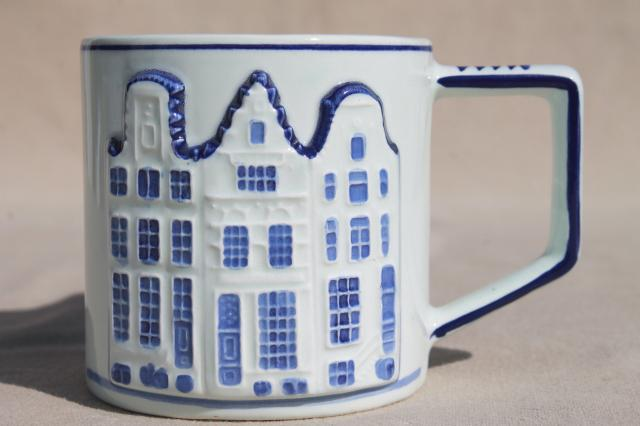 vintage-Holland-Delft-mugs-blue-white-handpainted-coffee-cups-Dutch-row-houses-Laurel-Leaf-Farm-item-no-nt32023-6