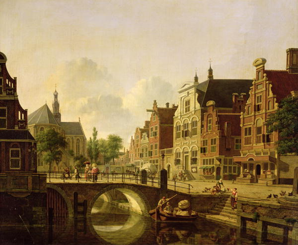 Dutch-town-scene-with-canal-figures-and-a-church-XX-Jan-Hendrik-Verheyen