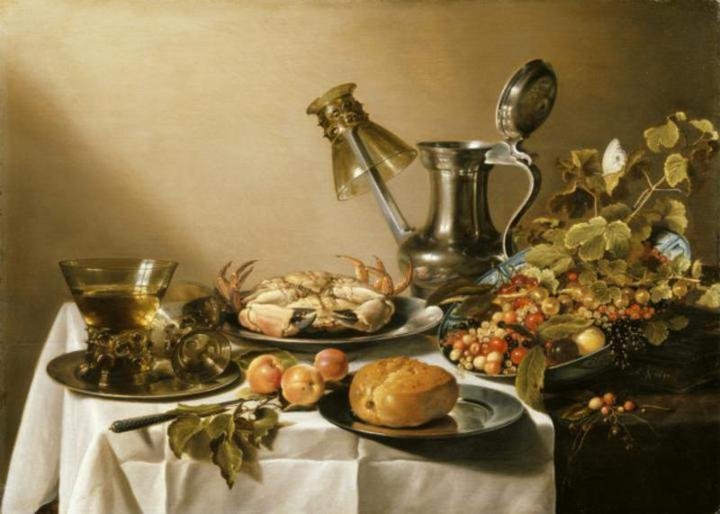 STILL LIFE WITH CRAB, APRICOTS, BREAD AND A BOWL OF SUMMER FRUITS by Peter Claesz at Nostell Priory (post conservation). Painting owned by the NT. Credit line: ©NTPL/Matthew Hollow