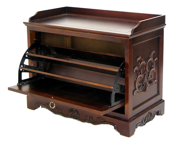 furniture-vintage-brown-varnish-teak-wooden-shoe-storage-with-bench-and-carved-ornament-with-closet-storage-and-shoe-organizer-for-closets-captivating-wooden-shoe-organizer-for-savi